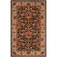 Hand-tufted Brown/Orange Traditional Bordered Ora Wool Area Rug - 5' x 8'