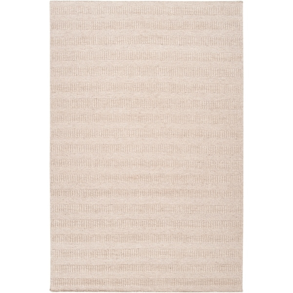 Hand-crafted Solid Antique White Baha Wool Area Rug - 5' x 8'