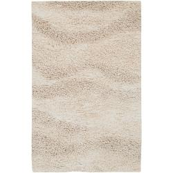 Hand-woven Ivory Buurk Plush Shag New Zealand Wool Rug (5' x 8')
