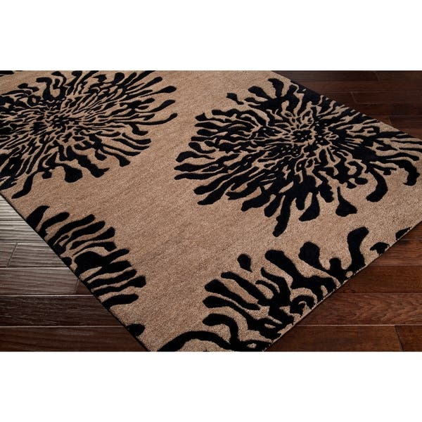 Hand Tufted Contemporary Black Bostor New Zealand Wool Abstract Area Rug 2 6 X 8 Runner Overstock 6654846