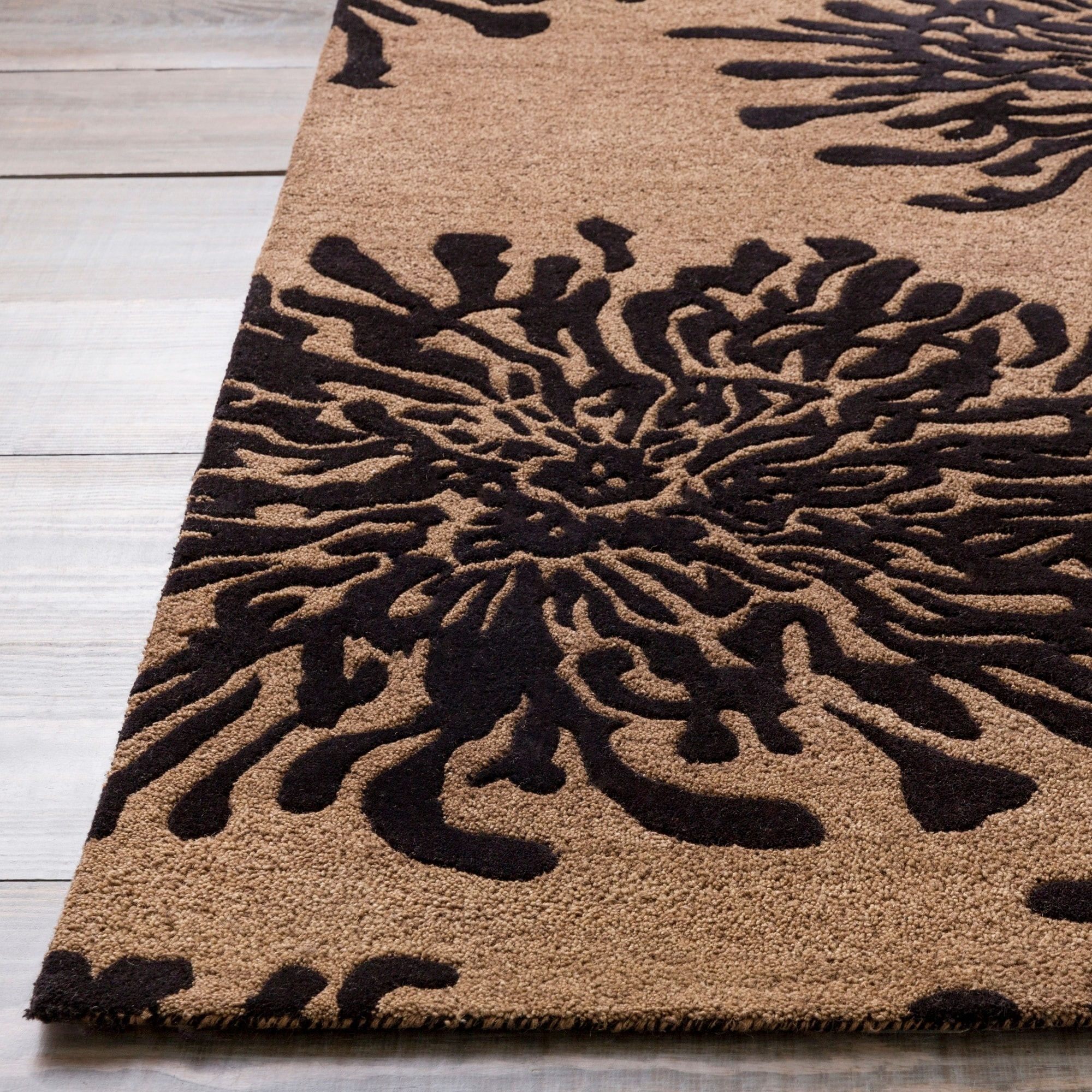 Hand Tufted Contemporary Black Bostor New Zealand Wool Abstract Area Rug 8 Round 8 Round Overstock 6654847