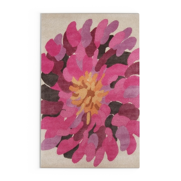 Hand-tufted Contemporary /Pink Bostor New Zealand Wool Abstract Area Rug - 5' x 8'