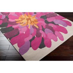 Hand-tufted Contemporary /Pink Bostor New Zealand Wool Abstract Rug (9' x 13') - Thumbnail 1