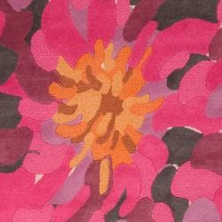 Hand-tufted Contemporary /Pink Bostor New Zealand Wool Abstract Rug (9' x 13') - Thumbnail 2