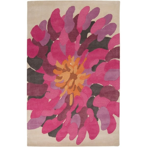 Hand-tufted Contemporary /Pink Bostor New Zealand Wool Abstract Area Rug - 9' x 13'
