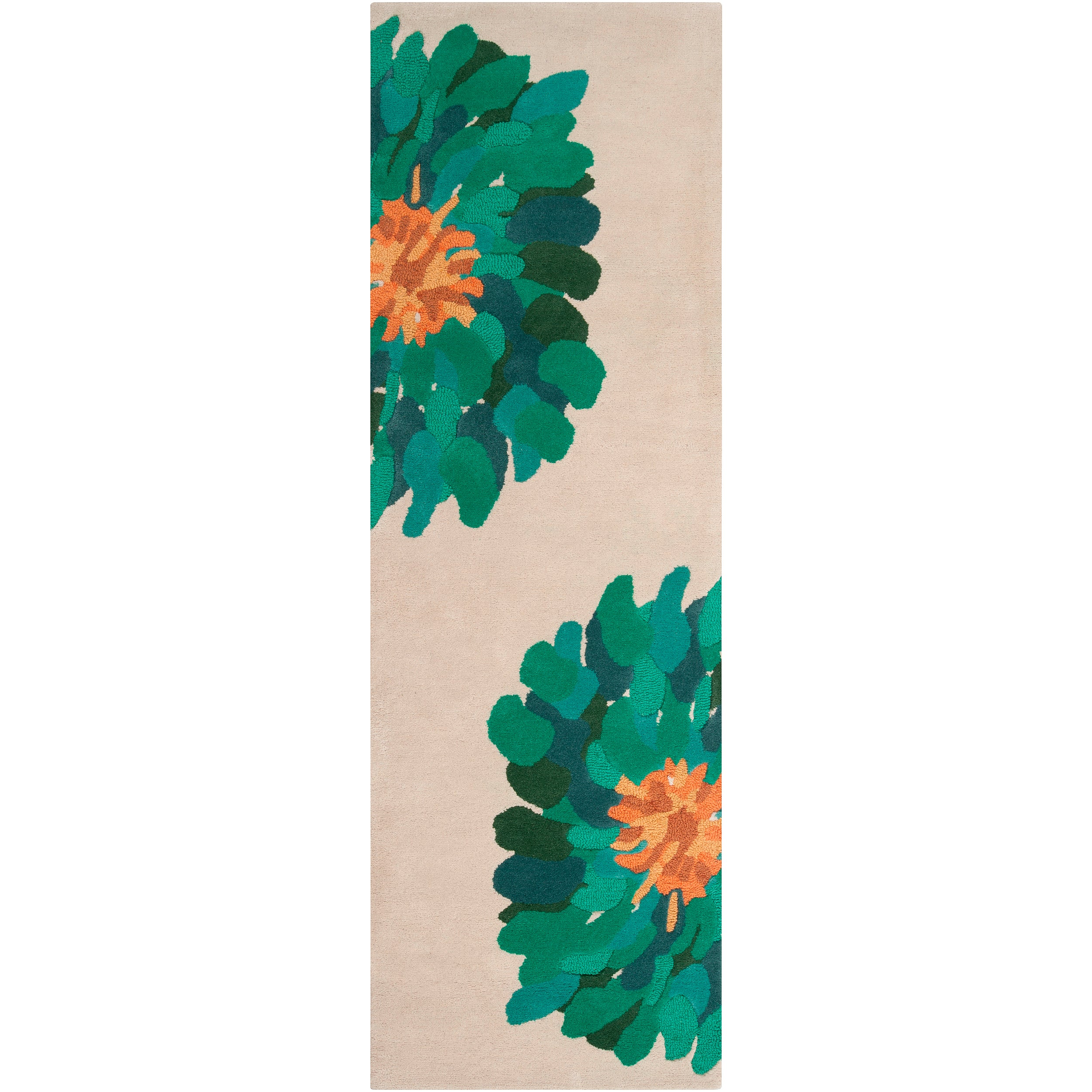Hand-tufted Contemporary /Green Bostor New Zealand Wool Abstract Rug (2'6 x 8')