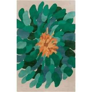 """Hand-tufted Contemporary /Green Bostor New Zealand Wool Abstract Area Rug - 3'3"""" x 5'3"""""""