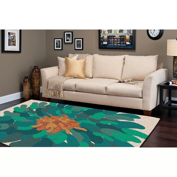 Hand-tufted Contemporary Floral Green Bostor New Zealand Wool Abstract Area Rug - 5' x 8'