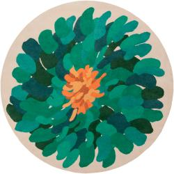 Hand-tufted Contemporary /Green Bostor New Zealand Wool Abstract Rug (8' Round)