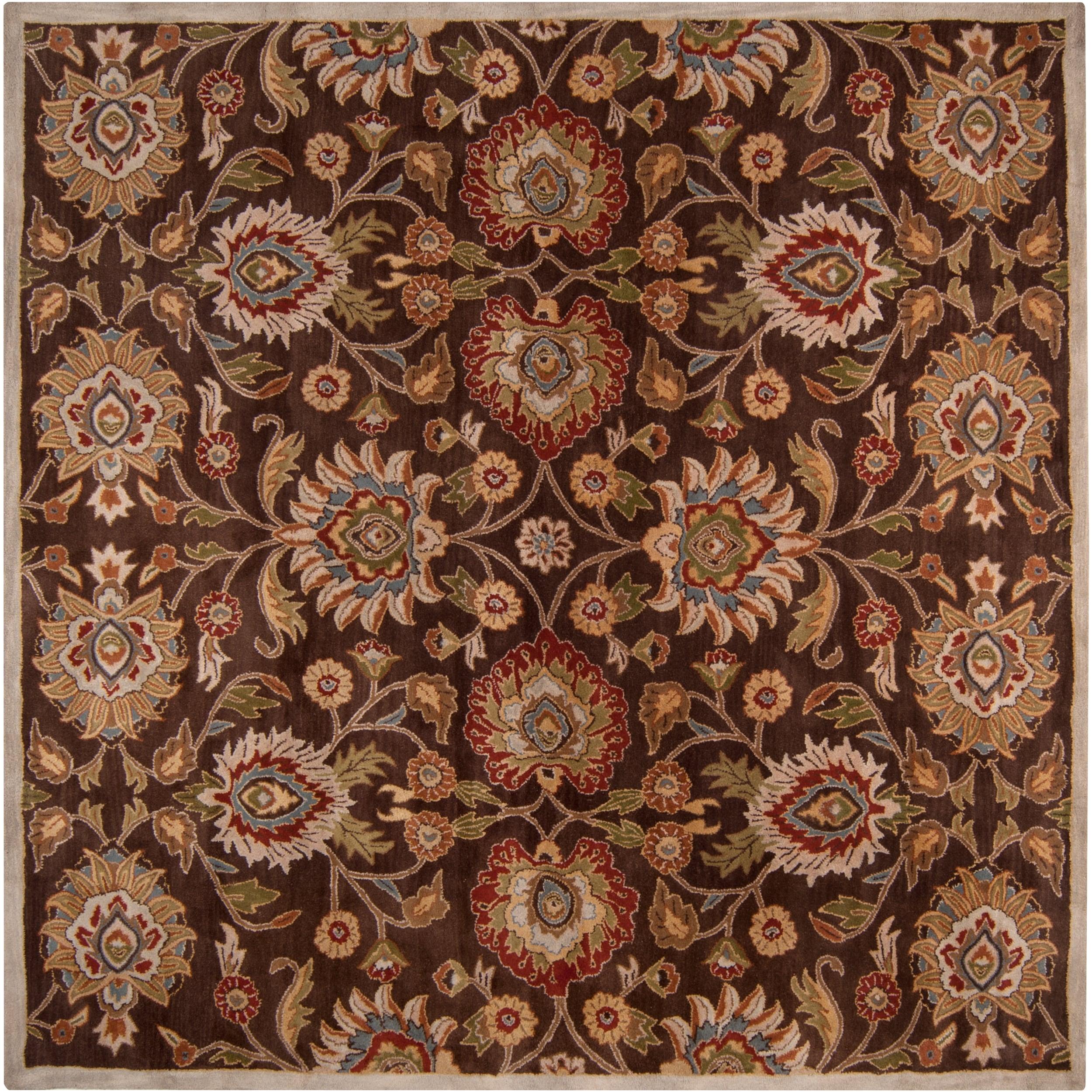 KAS Hand-tufted Brown Kiser Wool Rug (8' Square), Size 8'...