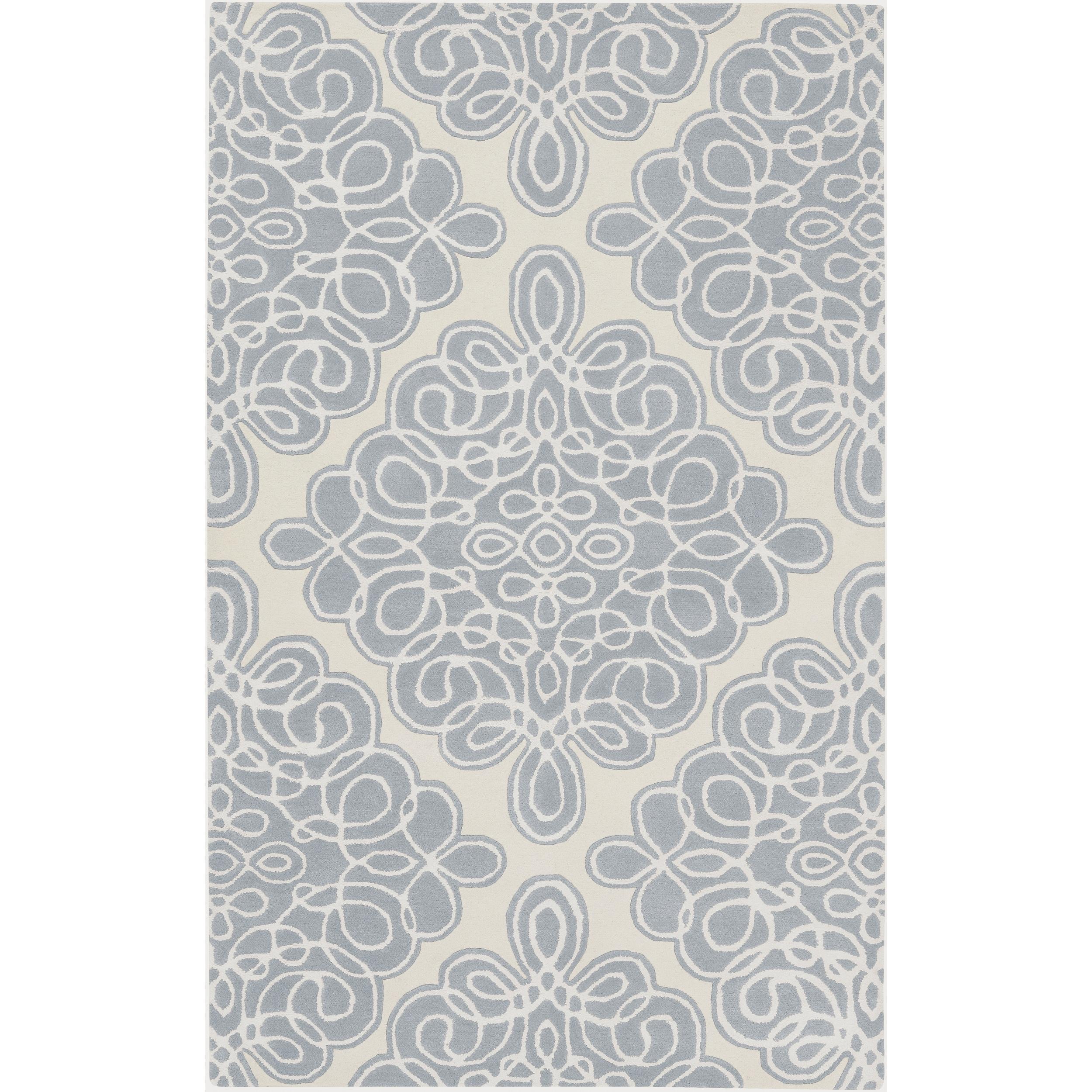 Hand-tufted White Cane Geometric Pattern Wool Area Rug (9' x 13') - 9' x 13'