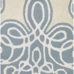 Hand-tufted White Cane Geometric Pattern Wool Rug (9' x 13')
