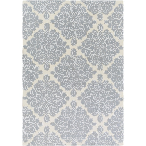 Hand-tufted White Cane Geometric Pattern Wool Area Rug - 9' x 13'