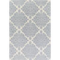 Hand-tufted White Cane Geometric Pattern Wool Area Rug - 9' x 13'