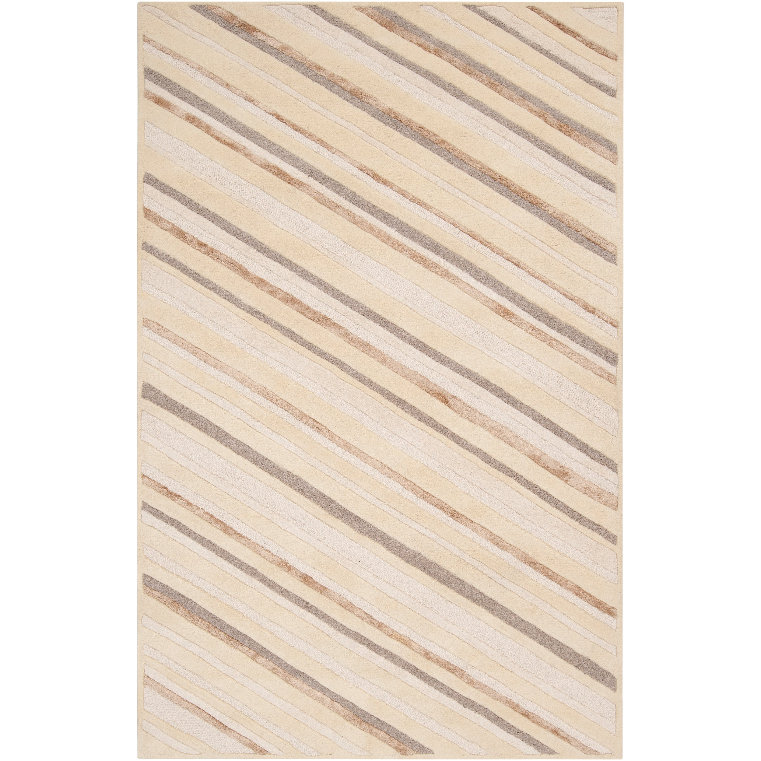 Candice Olson Hand-Tufted Green Cane Diagonal Stripes Abstract Wool Rug (5' x 8')
