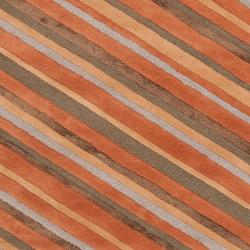 Candice Olson Hand-Tufted Brown Cane Diagonal Stripes Wool Area Rug (8' x 11') - Thumbnail 2