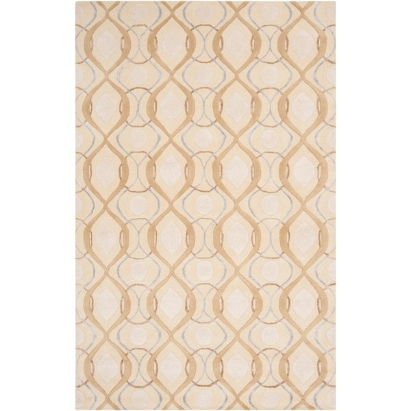 Hand-tufted Green Cane Moroccan Tile Pattern Wool Area Rug - 9' x 13'