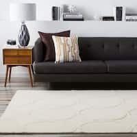 """Hand-tufted White Cane Trellis Pattern Wool Area Rug - 3'3"""" x 5'3"""""""
