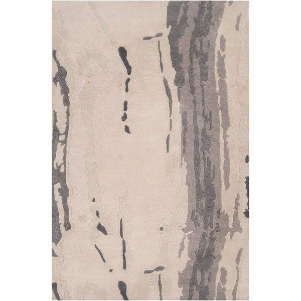 Hand-tufted White Cane Abstract Plush Wool Area Rug (5' x 8')