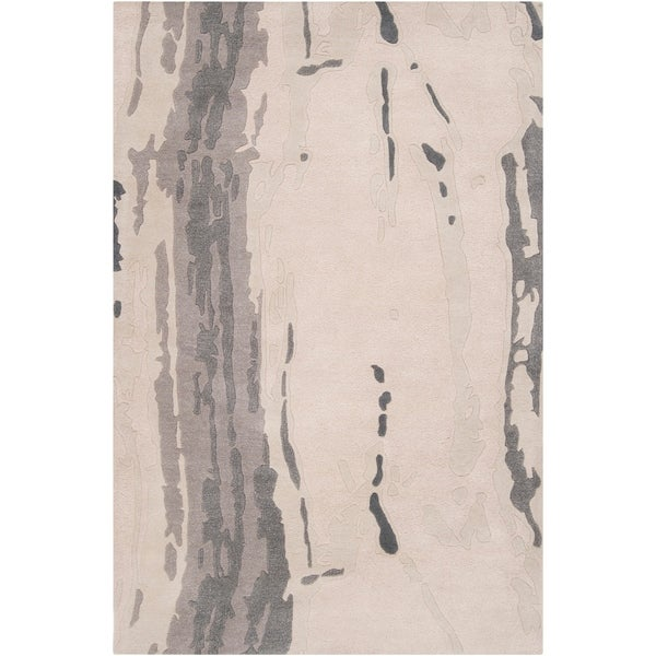Hand-tufted White Cane Abstract Plush Wool Area Rug - 5' x 8'