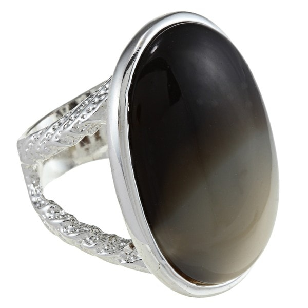 City by City Silvertone Imitation Horn Oval Fashion Ring