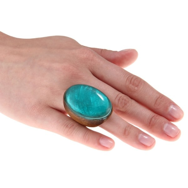 City by City Women's Oversized Wood Oval-cut Turquoise Resin Fashion Ring