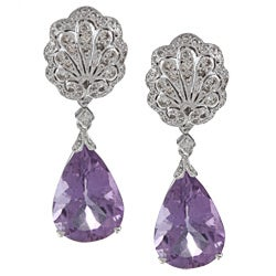 18k White Gold 1ct TDW Amethyst Cocktail Earrings (G-H, SI1-SI2)