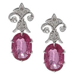 18k White Gold 1/5ct TDW Art Deco Estate Rubelite Earrings (G-H, VS1-VS2)