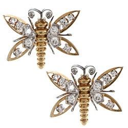 18k Yellow Gold 3/4ct TDW Butterfly Earrings (H-I, SI1-SI2)