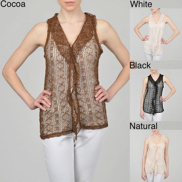 Katie Todd Women's Sleeveless Ribbon Crochet Mesh Ruffle Front Vest