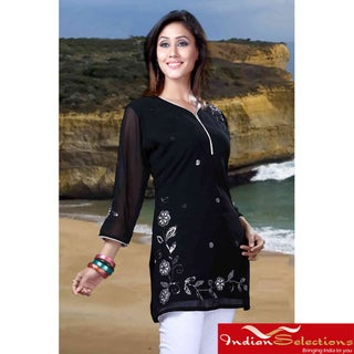 Handmade Black Georgette Three-Quarter-Sleeve Embroidered Kurti/Tunic (India)