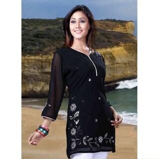 Handmade Black Georgette Three-Quarter-Sleeve Embroidered Kurti/Tunic (India)