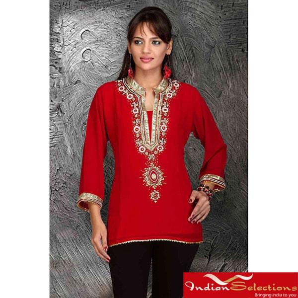 Handmade Red/Black Georgette Three-quarter-sleeve Kurti/Tunic (India)