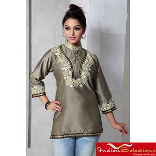 Handmade Art Silk Olive Green Kurti/Tunic (India)