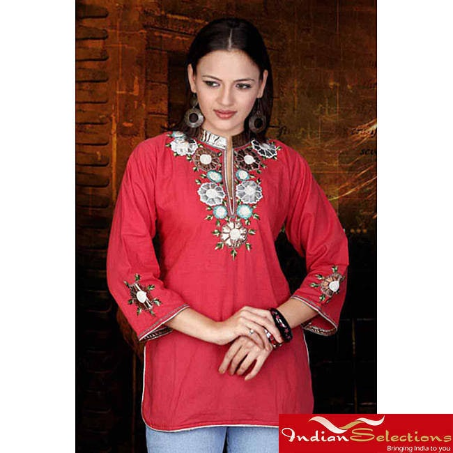 Handmade Fire Brick Cotton Kurti/Tunic (India) (Large...C...