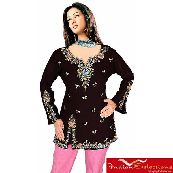 Black Art Silk Kurti/Tunic (India)