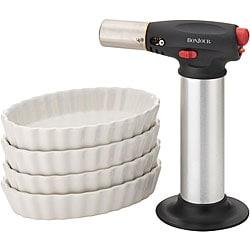BonJour Chef's Tools Crème Brûlée Set - Chef's Creme Brulee Torch with 4 Oval Ramekins