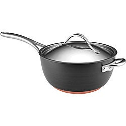 Anolon Nouvelle Copper Hard-anodized Nonstick 5 1/2-quart Dark Grey Saucier with Helper Handle