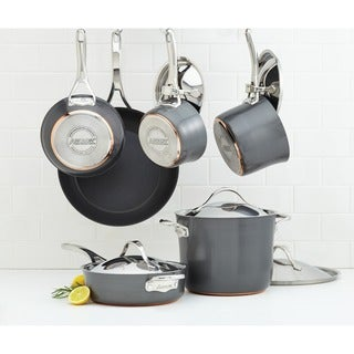 Anolon Nouvelle Copper Hard-anodized Nonstick 11-piece Dark Grey Cookware Set