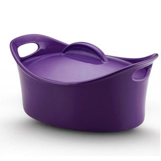 Rachael Ray Stoneware 4.25-quart Covered Oval Casserole 'Casseroval', Purple