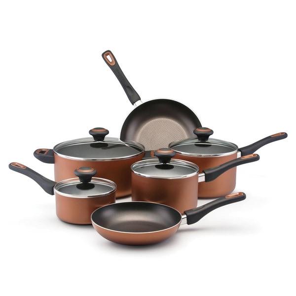 Shop Farberware 10-piece Copper Nonstick Cookware Set ...