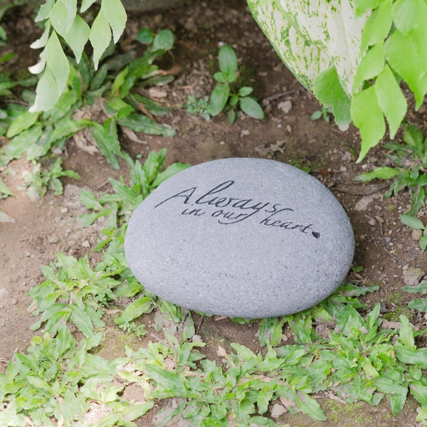 Handmade 'Always In Our Heart' Pet Memorial Stone (Indonesia)