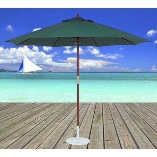 TropiShade 11 ft. Dark Wood Market Umbrella with Green Olefin Cover