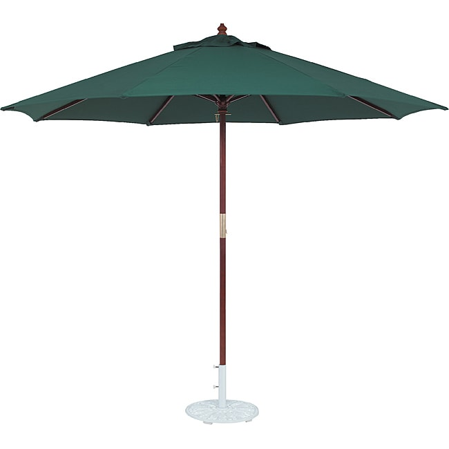 TropiShade 11 ft. Dark Wood Market Umbrella with Green Olefin Cover
