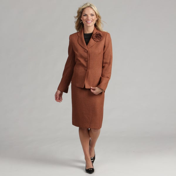 Le suit women s rust herringbone skirt suit free shipping on orders