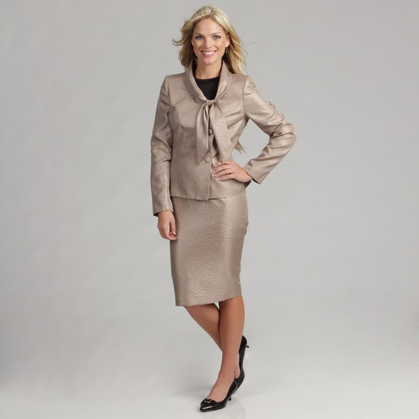 Le Suit Women's Champagne Tie Neck Skirt Suit