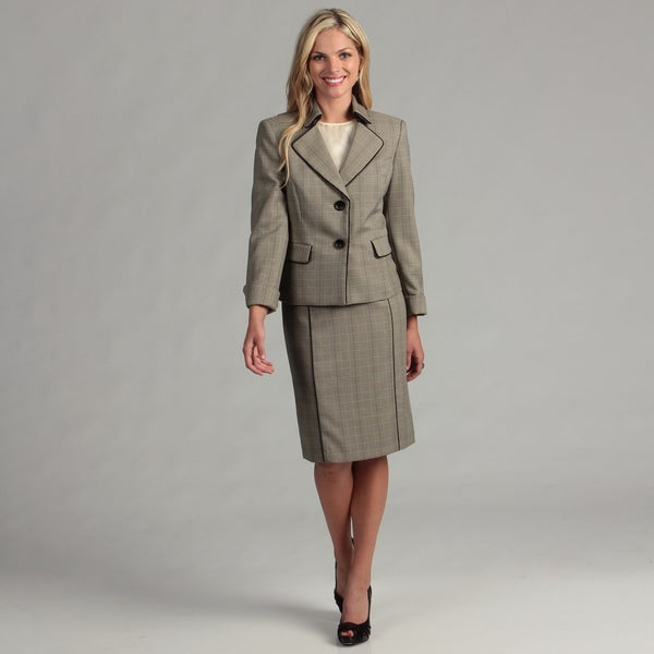 Evan Picone Women's 2-button Piped Skirt Suit