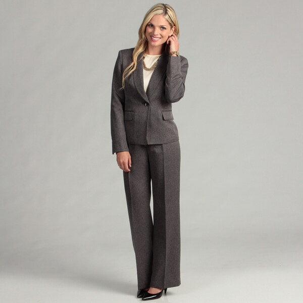 Evan Picone Women's Charcoal One-button Pant Suit - Free Shipping ...