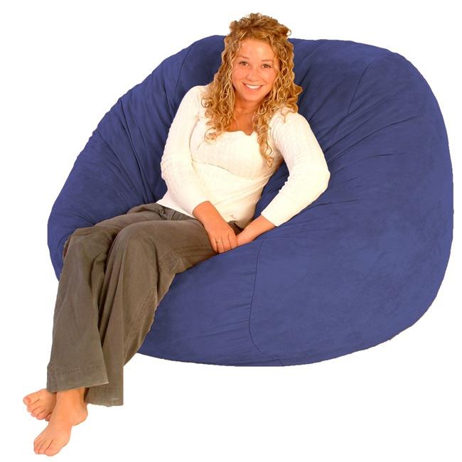 FufSack Purple and Blue Microfiber Bean Bag Chair