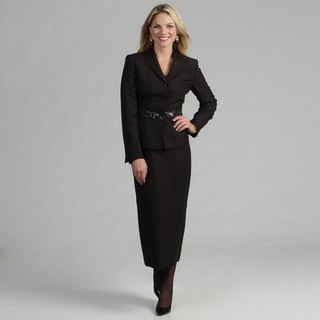 Le Suit Women's Black 3-button Skirt Suit